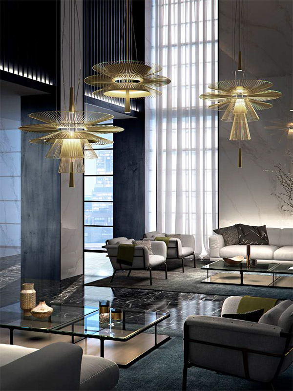 Ambiance suspensions GRAVITY OR (1) forestier paris