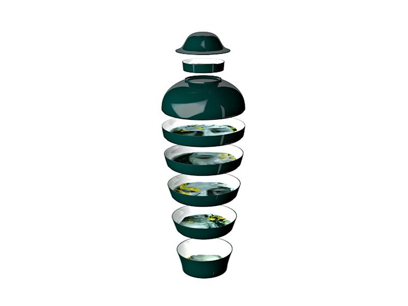 Service d'assiettes et saladiers empilable QING (COMPOSITION EN VUE ÉCLATÉE)_vert-ruo IBRIDE